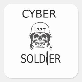 サイバーの兵士のハッカーのステッカー スクエアシール