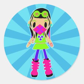 サイバーの女の子Xのステッカー ラウンドシール