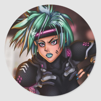 サイバーの警察の女の子 ラウンドシール