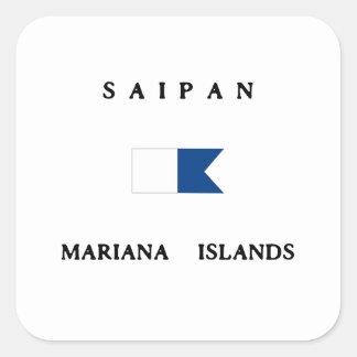 サイパンマリアナ諸島のアルファ飛び込みの旗 スクエアシール