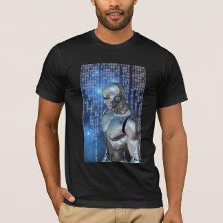 サイボーグのバイナリ背部地面 Tシャツ