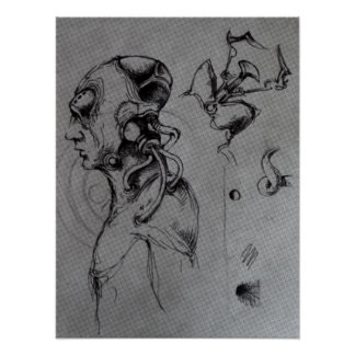 サイボーグの概念のスケッチ-オリジナルB&W ポスター