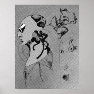 サイボーグの概念のスケッチ-灰色のマスク ポスター