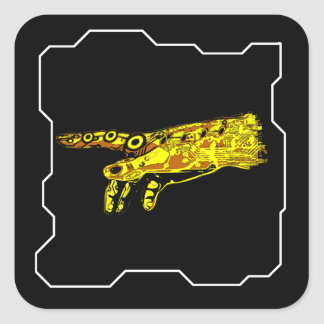サイボーグの神(黄色)の手 スクエアシール