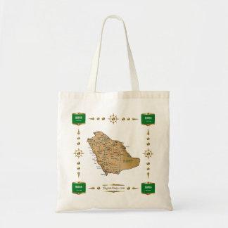サウジアラビアの地図 + 旗のバッグ トートバッグ