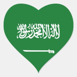 サウジアラビアの旗のハートのステッカー ハート型シール