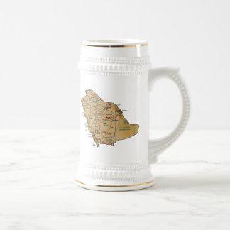 サウジアラビアの旗の~の地図のマグ ビールジョッキ