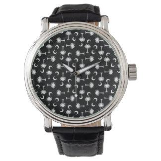 サウスカロライナのパルメットの月の旗の黒 腕時計