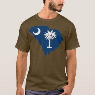 サウスカロライナの旗の地図 Tシャツ