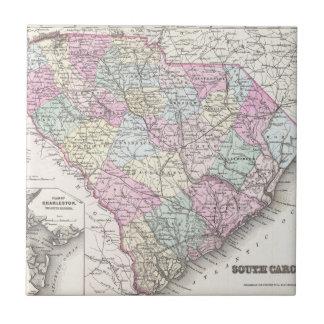 サウスカロライナ(1855年)のヴィンテージの地図 タイル