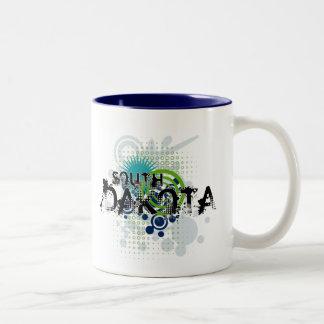 サウスダコタのモダンでグランジなハーフトーンのマグ ツートーンマグカップ