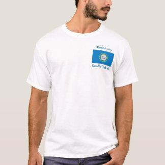 サウスダコタの旗の地図都市Tシャツ Tシャツ