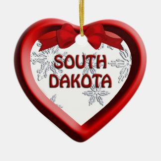 サウスダコタの雪片のハートのクリスマスのオーナメント セラミックオーナメント