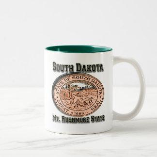 サウスダコタラシュモア山の州のシール ツートーンマグカップ