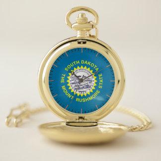 サウスダコタ、米国の愛国心が強い壊中時計の旗 ポケットウォッチ