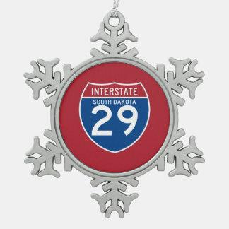 サウスダコタSD I-29の州間幹線道路の盾- スノーフレークピューターオーナメント
