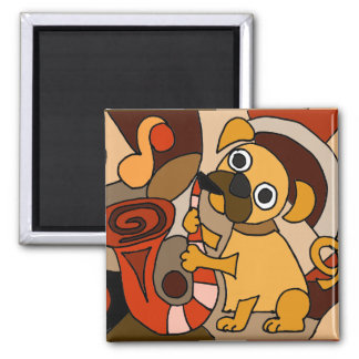 サクソフォーンのオリジナルの芸術を遊んでいるおもしろいなパグ犬 マグネット