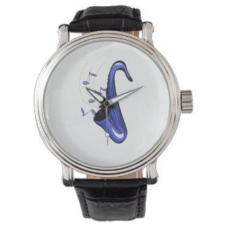 サクソフォーンの抽象的なサクソフォーンwはblue.pngに注意します 腕時計
