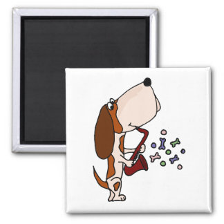 サクソフォーンを演奏しているバセットハウンド犬 マグネット