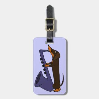 サクソフォーンを演奏している素晴らしいダックスフント犬 ラゲッジタグ