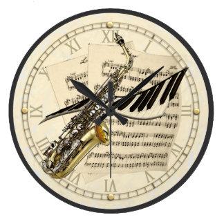 サクソフォーン及びピアノ音楽デザインの柱時計 ラージ壁時計