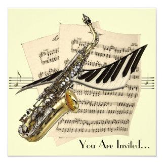 サクソフォーン音楽デザインの招待状 カード