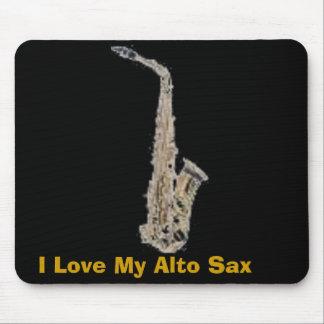 サクソフォーン、私は私のALTOサクソフォーンを愛します マウスパッド