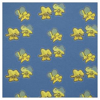サクラソウは濃紺の)生地(咲きます ファブリック