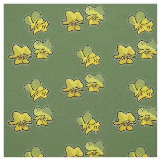 サクラソウは緑の)生地(咲きます ファブリック