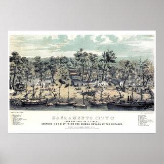 サクラメントカリフォルニアの1850年のヴィンテージポスター ポスター
