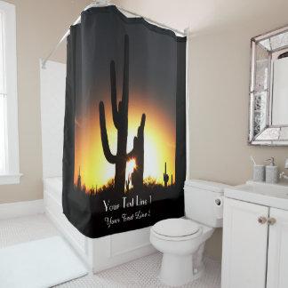 サグアロの日没の名前入りなシャワー・カーテン シャワーカーテン
