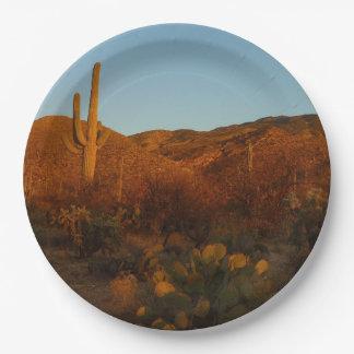 サグアロの日没Iアリゾナの砂漠の景色 ペーパープレート
