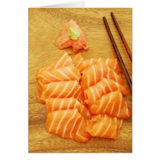 サケが付いている寿司の食事 カード
