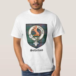 サザランドの一族はバッジのタータンチェックの頂点に達します Tシャツ