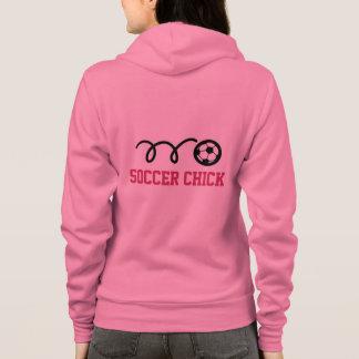 サッカーのひよこはピンクフード付きスウェットシャツ|および他の色のファスナーを締めました パーカ