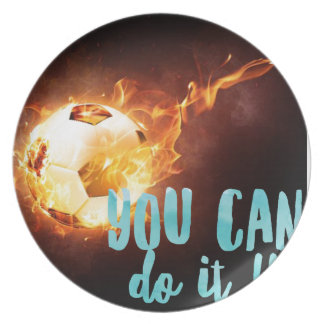 サッカーのやる気を起こさせるで感動的な成功 プレート