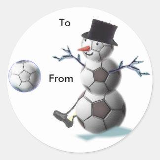 サッカーのクリスマスのクリスマスのプレゼントのステッカー ラウンドシール