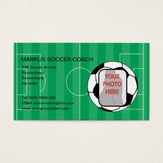 サッカーのコーチの写真のカスタマイズ可能な名刺 名刺