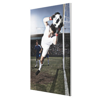 サッカーのゴールキーパーの伝染性のサッカーボール キャンバスプリント