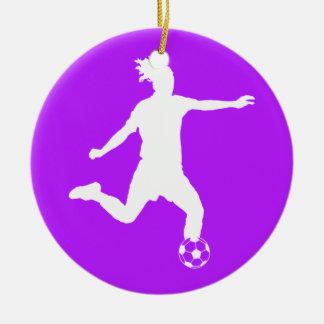 サッカーのシルエットのオーナメントw/Nameの紫色 セラミックオーナメント