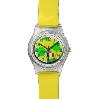 サッカーのフランスのな旗およびカスタマイズ可能な一流のフランス 腕時計