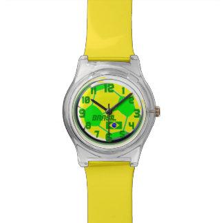 サッカーのブラジルの旗カスタマイズ可能な一流のブラジル 腕時計
