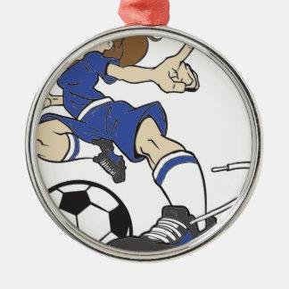 サッカーの女の子のブルネット メタルオーナメント