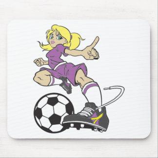 サッカーの女の子のブロンドの女性 マウスパッド