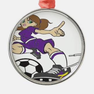 サッカーの女の子の紫色の文字 メタルオーナメント