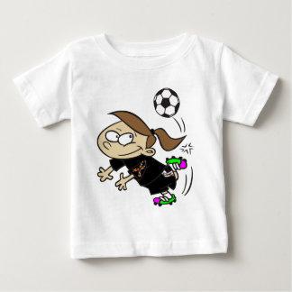 サッカーの女の子の自閉症のリボン ベビーTシャツ
