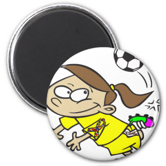 サッカーの女の子の自閉症のリボン マグネット