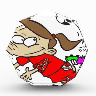 サッカーの女の子の自閉症のリボン 表彰盾