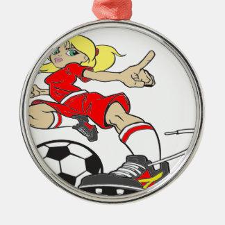 サッカーの女の子の赤の文字 メタルオーナメント
