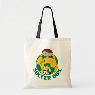 サッカーの女の子4および球緑および黄色v2 トートバッグ